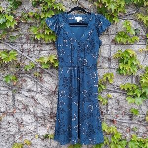 Loft Blue Floral Button  Front Dress